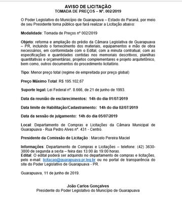 AVISO DE LICITAÇÃO TOMADA DE PREÇOS – Nº. 002/2019